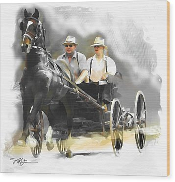 Wood Print featuring the painting Single Horse Power by Bob Salo