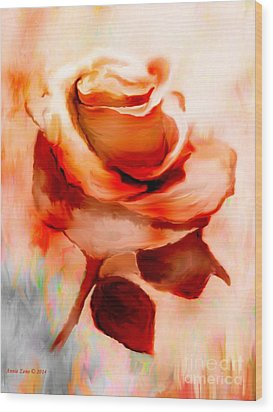 Single Rose Painting Wood Print by Annie Zeno
