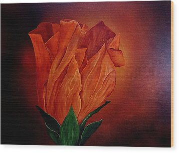 Single Rose Wood Print