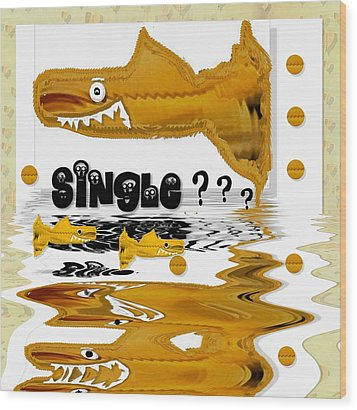 Single Shark Pop Art Wood Print by Pepita Selles