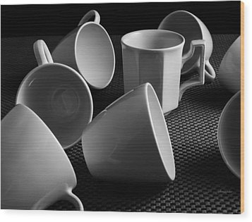 Wood Print featuring the photograph Singled Out - Coffee Cups by Steven Milner