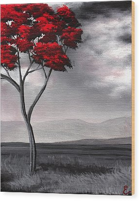 Singled Out Red Wood Print by Erin Scott