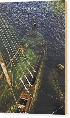 Sinking Sailboat Wood Print by Sally Weigand