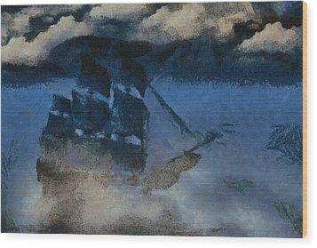 Sinking Sailer Wood Print by Ayse and Deniz