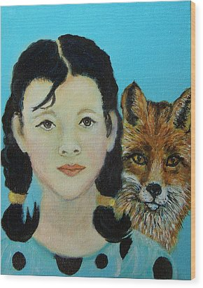 Sinopa Little Fox Wood Print by The Art With A Heart By Charlotte Phillips