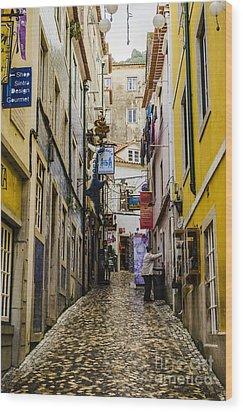 Sintra Street Wood Print by Deborah Smolinske