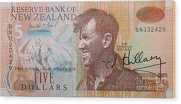 Sir Edmund Hillary Signed Banknote Wood Print