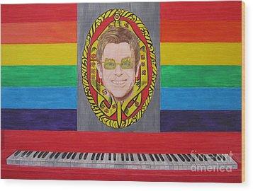 Sir Elton John Wood Print