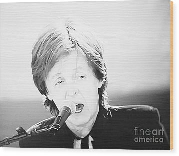 Sir Paul In Monochrome Wood Print by Tina M Wenger