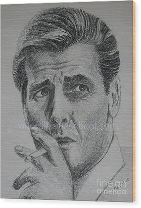 Sir Roger Moore 007 Wood Print by PainterArtist FINs husband MAESTRO