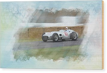 Sir Stirling Moss Wood Print by Roger Lighterness