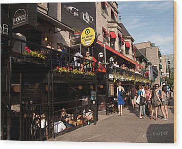 Wood Print featuring the photograph Sir Winston Churchill Pub On Rue De Crescent In Montreal by Terri Harper