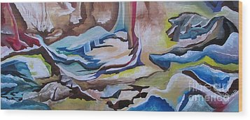 Wood Print featuring the painting Sirens by Nereida Rodriguez