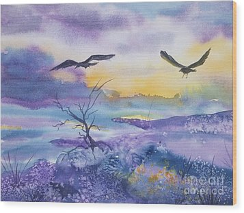 Wood Print featuring the painting Sister Ravens by Ellen Levinson