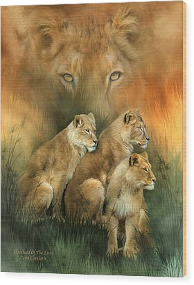 Sisterhood Of The Lions Wood Print by Carol Cavalaris