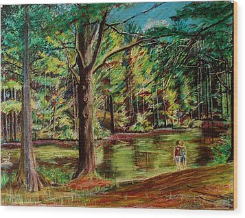 Sisters At Wason Pond Wood Print by Sean Connolly