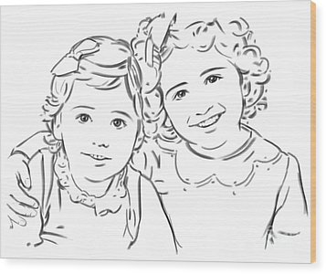 Wood Print featuring the drawing Sisters Forever by Olimpia - Hinamatsuri Barbu