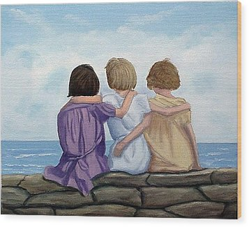 Wood Print featuring the painting Sisters by Fran Brooks