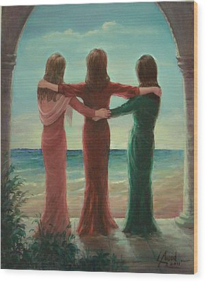 Wood Print featuring the painting Sisters by Laila Awad Jamaleldin