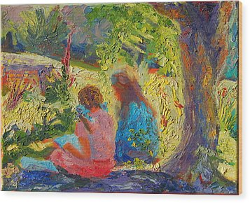 Wood Print featuring the painting Sisters Reading Under Oak Tree by Thomas Bertram POOLE