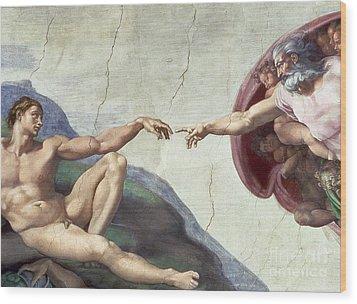Sistine Chapel Ceiling Wood Print by Michelangelo Buonarroti