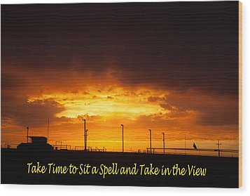 Sit A Spell Sunset Wood Print by Shirley Heier