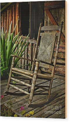 Sit Down And Stay A Spell Wood Print