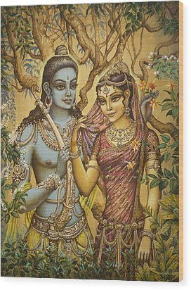 Sita And Ram Wood Print by Vrindavan Das