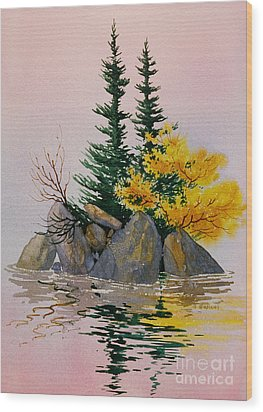 Wood Print featuring the painting Sitka Isle by Teresa Ascone