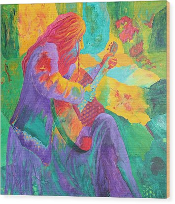 Wood Print featuring the painting Sit'n And Pick'n by Nancy Jolley
