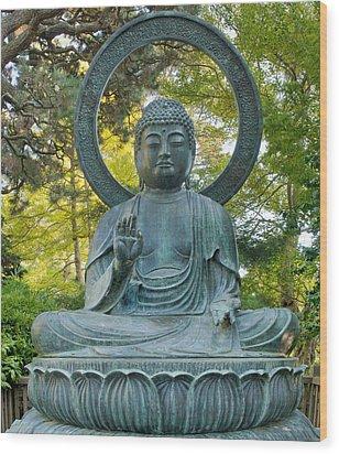 Sitting Bronze Buddha At San Francisco Japanese Garden Wood Print by David Gn