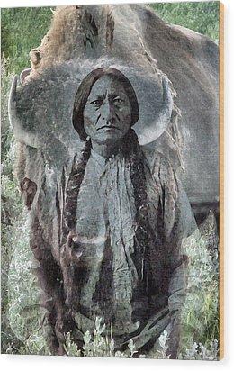 Sitting Bull . Lakota Sioux Holy Man Wood Print by Patricia Januszkiewicz