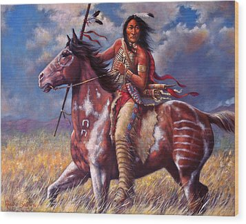 Wood Print featuring the painting Sitting Bull by Harvie Brown