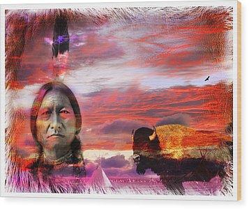 Sitting Bull Wood Print by Mal Bray