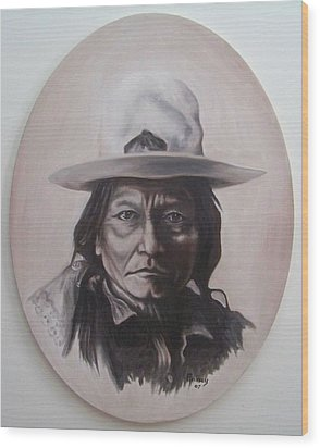 Wood Print featuring the painting Sitting Bull by Michael  TMAD Finney