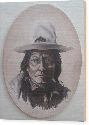 Sitting Bull Wood Print by Michael  TMAD Finney