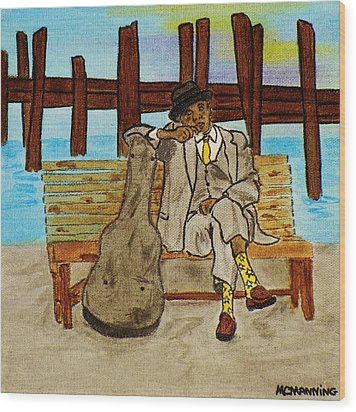 Wood Print featuring the painting Sitting On The Dock Of The Bay by Celeste Manning