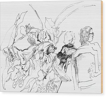 Sitting In The Garden Wood Print by Vannucci Fine Art