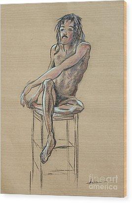 Sitting Man Holding His Foot Wood Print by Asha Carolyn Young