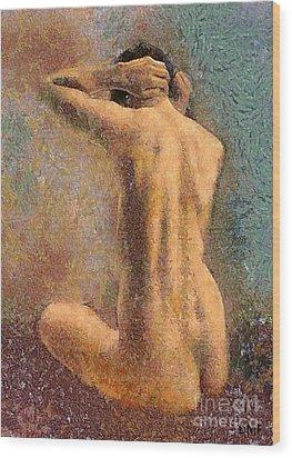 Sitting Nude 3 Wood Print by Dragica  Micki Fortuna