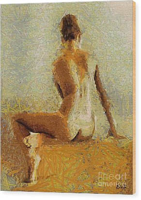 Sitting Nude II Wood Print by Dragica  Micki Fortuna
