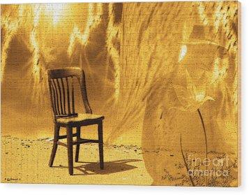 Sitting On Edge Wood Print