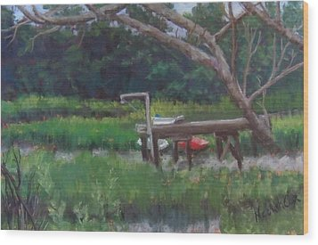 Sitting On The Dock Wood Print by Denise  Cox