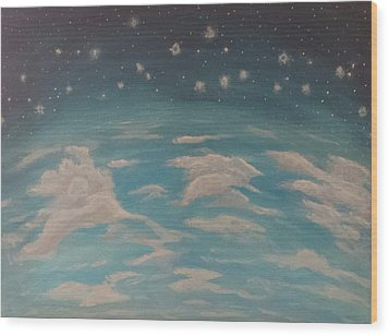 Wood Print featuring the painting Sitting On Top Of The World by Thomasina Durkay