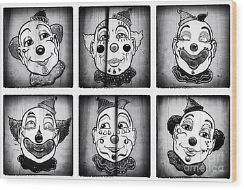 Six Clowns Wood Print by John Rizzuto
