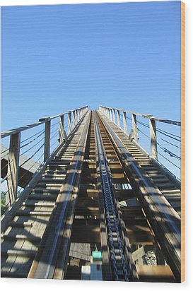 Six Flags America - Roar Roller Coaster - 12121 Wood Print by DC Photographer