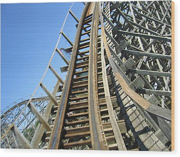 Six Flags America - Roar Roller Coaster - 12123 Wood Print by DC Photographer