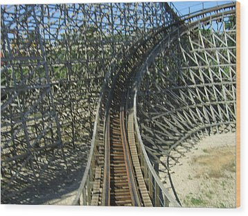 Six Flags America - Roar Roller Coaster - 12125 Wood Print by DC Photographer