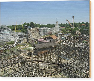Six Flags America - Wild One Roller Coaster - 121210 Wood Print by DC Photographer