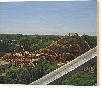 Six Flags America - Wild One Roller Coaster - 121211 Wood Print by DC Photographer
